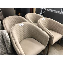 PAIR OF BEIGE PATTERNED ACCENT CHAIRS