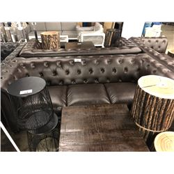 BROWN LEATHER TUFTED OVER STUFFED 3 SEAT SOFA