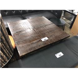 DARK WOOD TOP AND METAL FRAME SQUARE ACCENT TABLE