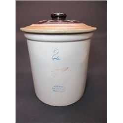 2 Gallon Small Wing Red Wing Crock- Unmatching Lid