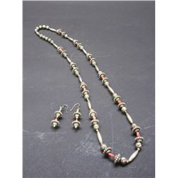 """Unmarked Sterling And Coral Necklace And Earrings Set- 15""""L"""