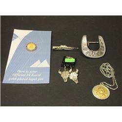 Sterling Steer Head Earrings- Belt Buckle- Rifle Tie Clasp- Sacagawea Dollar Necklace- 24K Gold Lape