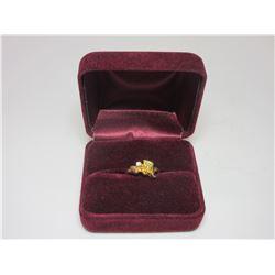 Solid 10K Black Hills Gold Ring w/ Diamond