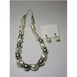 Free Form Pearls And Sterling Beads Necklace And Earrings Set