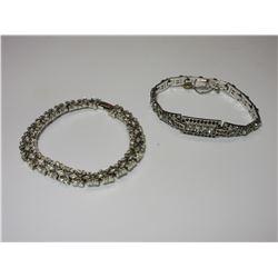 2- 1930'S Costume Jewelry Bracelets W Faux Rhinestones And Sapphires