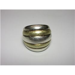 Unmarked Sterling And Brass Ring- Size 8