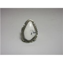 Marked Sterling GL White Buffalo Ring- Size 6.5