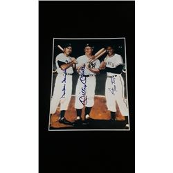 Mickey Mantle Duke Snider Willie Mays Autograph 8x10 Photo W/COA