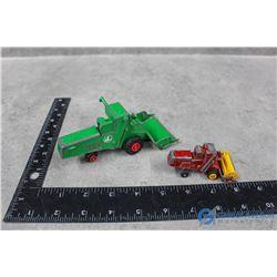 (2) Vintage Metal Matchbox Combines - Red & Green Claas Combines
