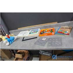 Vintage Disney and Smurf Items - Game, Tape & Book, Moulds, etc
