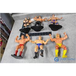 (6) Vintage Rubber Wrestlers