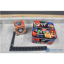 WWF Trivia Game in Tin and WWE Mankind Figure in Box