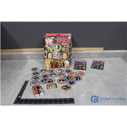 WWF the Katch Game with Box, Unused Stickers, etc