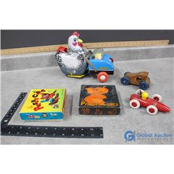 Tin Toy, Picture Cube Puzzles, Tin Hen, and Wooden Car