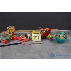 Vintage Fisher Price Toys, Radio, and Vintage Tin Spin Top