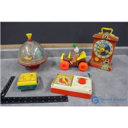 Vintage Fisher Price Toys - Radios, Clown Car, Top, etc