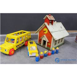 Vintage Fisher Price Little People School and Buses with People