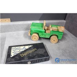 Heavy Wooden Jeep and Dominos in Case