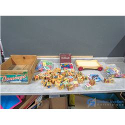 Wooden Toy Blocks in Wooden Crate