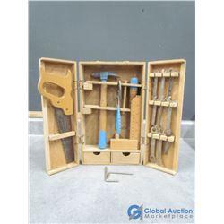 Vintage Real Kids Tool Set in Wooden Case
