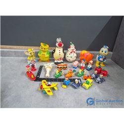 Metal Disney's Mickey in Plane, VIntage Rubber Toys, etc