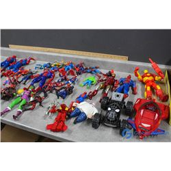 Assorted Marvel Figures & Toys - Spider Man, The Hulk, Iron Man, She Hulk, etc