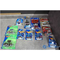 Assortment of in Package Hotwheels Cars; Spiderman Car; Monopoly Car, etc