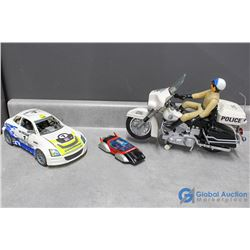 Police Motorcycle and Man, Lego and Transforming Race Car