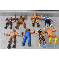 (8) WWF Rubber Toy Wrestlers