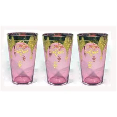 Antique Moser Glass Cranberry Gold Enamel #1084079