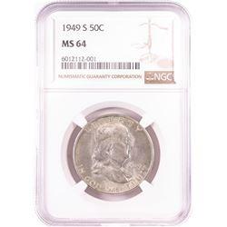 1949-S Franklin Half Dollar Coin NGC MS64