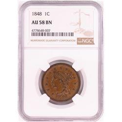 1848 Braided Hair Large Cent Coin NGC AU58 BN