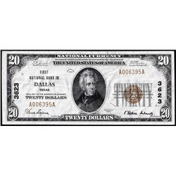 1929 $20 First NB in Dallas, TX CH# 3623 National Currency Note