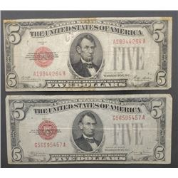 2-1928 $5 RED SEAL U.S. NOTES