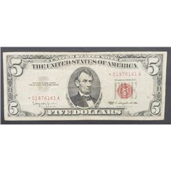 """1963 """"STAR NOTE"""" $5 RED SEAL"""
