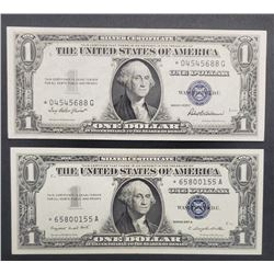 """2-""""STAR NOTE"""" $1 SILVER CERTS"""
