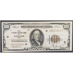 1929 $100 NATIONAL NOTE  CLEVELAND