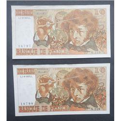2-BANK DE FRANCE $10 NOTES / DIX FRANCS