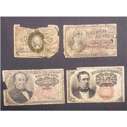 4-FRACTIONAL NOTES 1863 10c, 1863 5c,