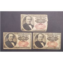 3-1874 25c FRACTIONAL NOTES