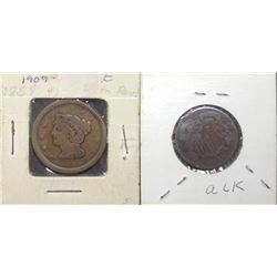 1854 LARGE CENT & 1864 TWO CENT