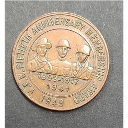 V.F.W. FIFTIETH ANNIV. MEMBERSHIP AWARD 1949