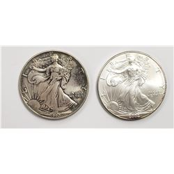 2 - 1990 and 2002 American Silver Eagles 1 oz 999