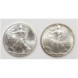 2 - 1993 and 2013 American Silver Eagles 1 oz 999