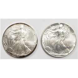2 - 1995 and 2002 American Silver Eagles 1 oz 999