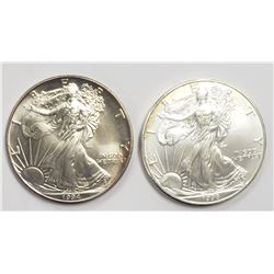 2 - 1998 and 1994 American Silver Eagles 1 oz 999