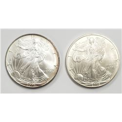 2 - 2006 and 2005 American Silver Eagles 1 oz 999
