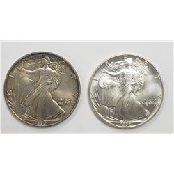 2 - 1992 and 1990 American Silver Eagles 1 oz 999