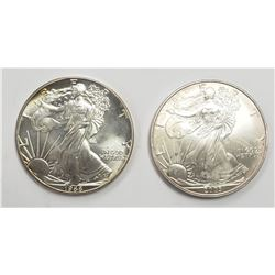 2 - 1988 and 2003 American Silver Eagles 1 oz 999