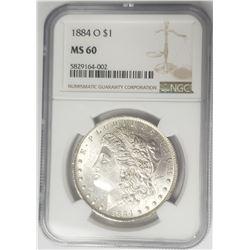 1884-O Morgan Silver Dollar $1 NGC MS60